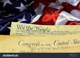preamble constitution united states american flag stock photo