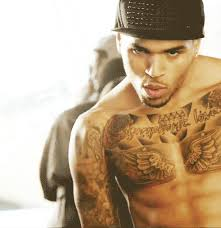 awesome design on chris brown chest images