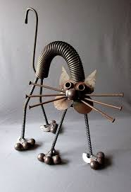 vintage made yard cat welded steel folk 17 1 2 junk