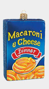 macaroni and cheese food box blown glass