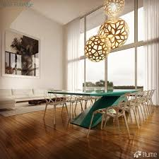 the coral and floral pendant lights shown here are made of bamboo