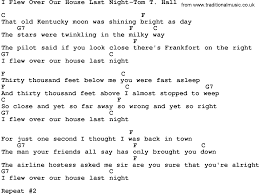 Feet To M Country Music I Flew Over Our House Last Night Tom T Hall Lyrics