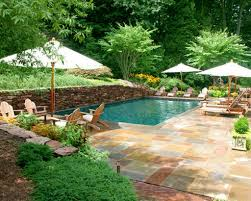 Nice Backyard Landscaping Ideas by Stunning Backyard Swimming Pools With Nice 4 Umbrella And Sunbed
