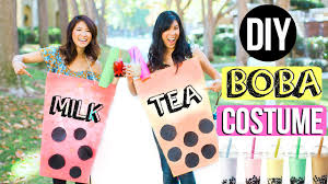 diy halloween costume for best friends boba milk tea costume