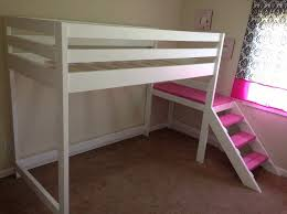 Cheap Loft Bed Frame Bedroom Design Simple White Loft Bed Pink Stairs For