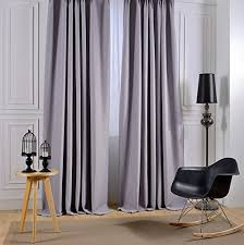 Silver Window Curtains Nvwa皰 Linen Polyester Blended Fabric Curtain Panel Room Darkening