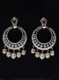 diamond earrings india real pearl american diamond indian designer earrings at wholesal