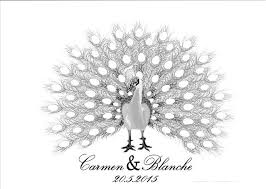 baby shower fingerprint tree online shop personality customized peacock canvas wedding