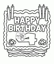 happy 4th birthday card coloring page for kids holiday coloring