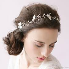 vintage bridal hair sparkle hair vine petals blossom wedding headband