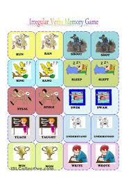 irregular verbs memory card game 3 3 esl pinterest