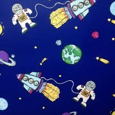 blue space planets rockets childrens kids debona my room wallpaper