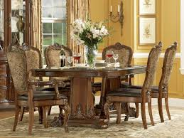 Dining Table And Fabric Chairs Old World Double Pedestal Dining Table With 4 Leather Fabric Side