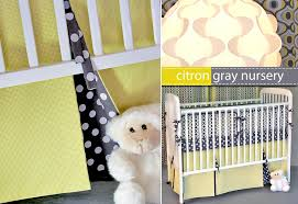 Bed Skirts For Cribs Michael Miller Fabrics Citron Gray Nursery Pleated Crib Skirt
