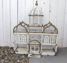 sale vintage wooden bird cage white chippy paint victorian shabby