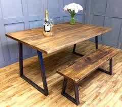 Dining Table Without Chairs Benches Rustic Dining Table With Benches Industrial Reclaimed