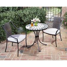 Outside Table And Chair Sets Home Styles Black And Tan 3 Piece Tile Top Patio Bistro Set With