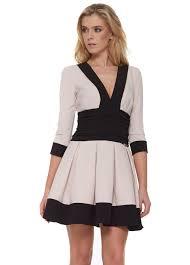 just unique cayla pink long sleeved designer mini skater dress