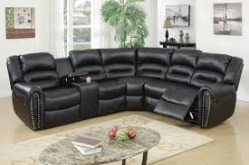 poundex f6743 black bonded leather motion sectional cup holder