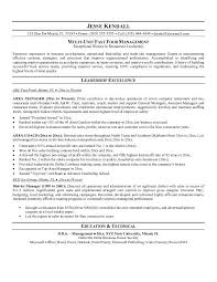 Resume For A Restaurant Job by Free Fast Food Area Manager Resume Example