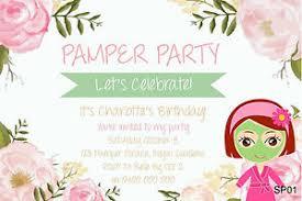 personalised pamper party invitations girls slumber spa birthday
