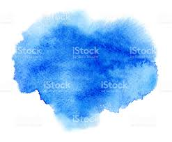 blue watercolour or ink stain with water color paint blot stock