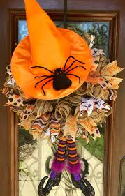 burlap witches hat and legs halloween wreath www facebook com