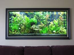 cool aquarium wall painting design for living room with white wall