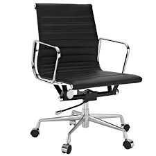 Desk Chair Modern Ribbed Mid Back Office Chair In Black Genuine Leather