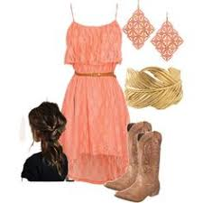 rodeo chic on polyvore lace dress with dan post cowboy boots