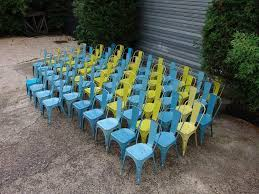 Yellow Bistro Chairs Set Of 72 Vintage Tolix Bistro Chairs In Blue And Yellow