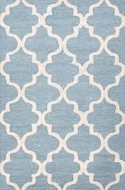 Blue Modern Rug Modern Geometric Blue Ivory Wool Area Rug Vogue In Cornflower