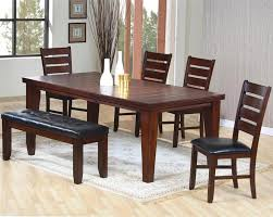 Coaster Dining Room Chairs 6pc Oak Finished Dining Table Set 4 Chairs And Bench Black Vinyl