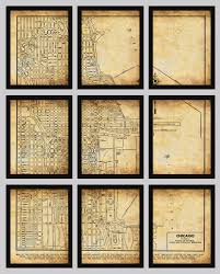 Chicago Street Map by Chicago Map Vintage Street Map 9 Panel Section Map Grunge