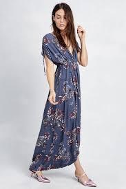 memdalet women u0027s short sleeve blue floral surplice casual maxi
