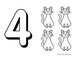 number four coloring page printable flannel board clipart