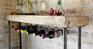 wine rack console table industrial reclaimed wood console table wine bar with pipe