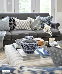 blue and white ottoman 3 ways to style your coffee table or ottoman