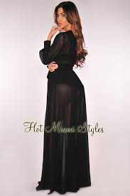 maxi dress with sleeves black faux wrap sleeves belted maxi dress