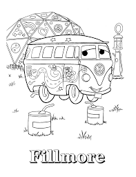 car fillmore coloring page to print vw bus pinterest auto