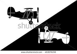 two small retro airplane silhouettes yin stock vector 463076158