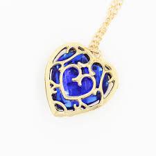blue heart crystal necklace images Japanese anime the legend of zelda figure necklace red heart jpg