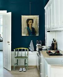 Dining Room Wall Paint Blue Add Drama To A White Kitchen With A Peacock Blue Wall U0026 Original