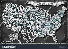 Vintage United States Map by Usa United States America Vintage Chalk Stock Vector 256852567