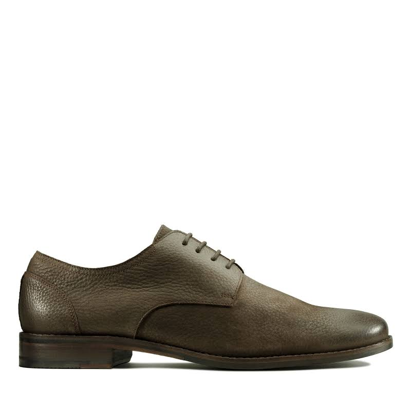 Clarks Flow Plain 26143643 Brown Leather Casual Lace Up Oxfords Shoes