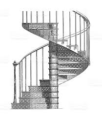 cast iron spiral staircase antique architectural illustrations