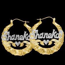 Name Hoop Earrings Gold Hoop Earrings With Name Beaded Round Bamboo Name Earrings