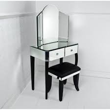 bedroom small black makeup vanity with drawer and trifold mirror
