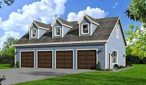 flexible 4 bay garage plan with full bath and 3 dormers 68439vr