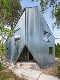 asymmetric and inexpensive prefab house in sweden presenting